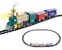 Classic Train Set for Kids with Smoke, Realistic Sounds, 3 Cars and 11 Feet of Tracks (13 pcs) c ...