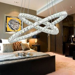 Crystal Chandelier,TOPMAX Design 60cm Cut Crystal LED Pendant With Oval Two Rings,Ceiling Light  ...