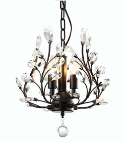 Garwarm 3 Lights Crystal Chandeliers,Ceiling Lights,Crystal Pendant Lighting,Ceiling Light Fixtu ...