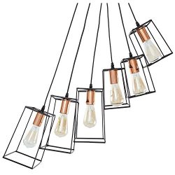 Light Society LS-C186-BLK-CPR 6-Light Main Street Pendant with Copper Accent, Matte Black