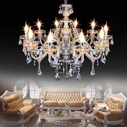 Ridgeyard 10 Lights Modern Luxurious K9 Crystal Chandelier Candle Cognac Pendant Lamp Ceiling Li ...