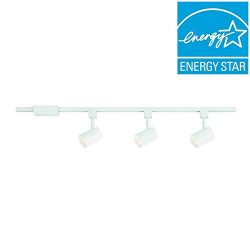 Hampton Bay 44 in. 3-Light White Integrated LED Track Lighting Kit with Cylinder Metal Shade