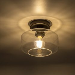 Industrial Ceiling Light fixture with Clear Glass Shade for Dining Room, Bedroom, Cafe, Bar, Cor ...
