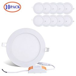 Brillihood 12W 6-inch Ultra-thin Round LED Recessed Ceiling Panel Down Light Lamp with Driver, 1 ...