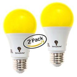 Solray Amber Yellow LED Bug Light Bulb 2-Pack No Blue Light Outdoor 650 Lumens 120V E26 Medium B ...