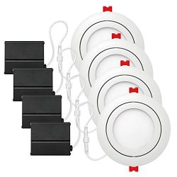 Globe Electric 4″ LED Integrated Ultra Slim Swivel Recessed Lighting Kit 4-Pack, 9 Watts,  ...