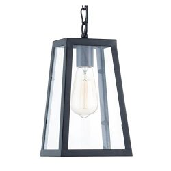 Light Society Serendipity Mini Pendant Light, Matte Black Shade with Clear Glass Panels, Vintage ...