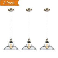 Salking Industrial Hanging Lamp, Vintage Edison Glass Pendant Light, Adjustable Hanging Height(F ...