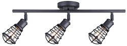 CANARM IT611A03GPH Otto 3 Light Track Rail Graphite with Metal Cage Shades