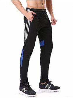 Geek Lighting Men's Soccer Training Athletic Light Track Zip Pocket Jersey Track Pants (X- ...