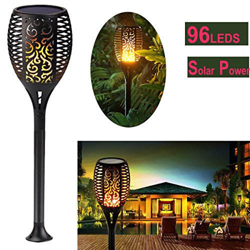 Topchances Waterproof Solar Torches Lights Dancing Flame
