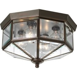 Progress Lighting P5789-20 Octagonal Close-To-Ceiling Fixture with Clear Bound Beveled Glass, An ...