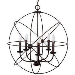Revel / Kira Home Orbits II Large 24″ 5-Light Modern Sphere/Orb Chandelier Bronze