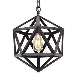 Revel / Kira Home Trenton 16″ Industrial Black Wrought Iron Metal Chandelier