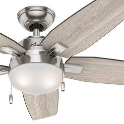 Hunter Fan 46 in. Contemporary Ceiling Fan with LED Light Kit, Brushed Nickel (Certified Refurbi ...