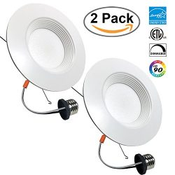 2 PACK 6-inch LED Recessed Retrofit Downlight, 12W (100W Replacement), 5000K, Day White, 1030 Lu ...