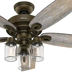 Hunter Fan 52″ Regal Bronze Ceiling Fan includes Three-light Fitter with Clear Glass, 5 Bl ...