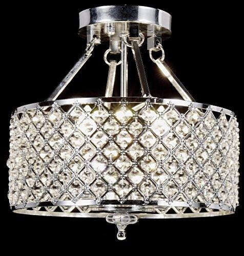 Top Lighting Chrome Round Shade Crystal Semi Flush Mount