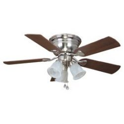 Harbor Breeze Centerville 42-in Brushed Nickel Flush Mount Indoor Ceiling Fan with Light Kit