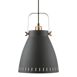 Light Society Grigsby Pendant Light, Sand Textured Black Shade with Brushed Copper Finish, Moder ...