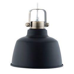 Light Society Mercer Mini Pendant Light, Matte Black Shade with Brushed Brass Finish, Modern Ind ...