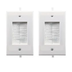 Recessed Low Voltage Cable through Brush Wall Plate,Yomyrayhu,Easy to Mount Outlet,Cable Managem ...