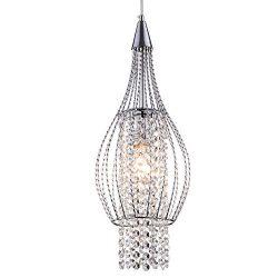 Crystal Pendant Lighting 1 Light Chrome Chandeliers Kitchen Island Ceiling Light Fixtures