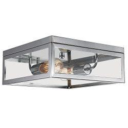 Globe Electric Memphis 2-Light Flush Mount Ceiling Light, Chrome Finish, Clear Glass Panes, 65747