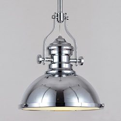 """Industrial Polished Nickel One-12"""" Wide Light Pendant Lamp-LITFAD One light Iron Pendent L ..."""