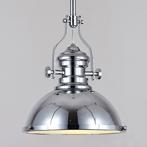 "Industrial Polished Nickel One-12"" Wide Light Pendant Lamp-LITFAD One light Iron Pendent L ..."
