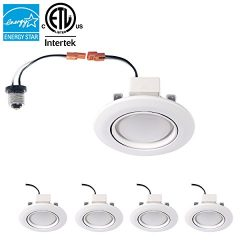 Parmida (4 Pack) 4 inch Dimmable LED Adjustable Gimbal Eyeball Retrofit Recessed Downlight, 10W  ...