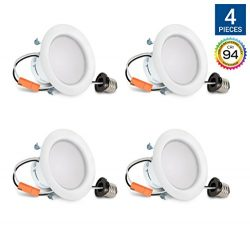 Hyperikon 4 Inch LED Recessed Lighting Dimmable Downlight, 9W (65W Equivalent), 2700K (Warm Whit ...