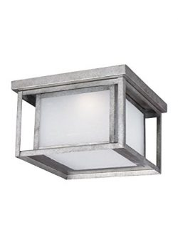 Sea Gull Lighting 7903991S-57 Hunnington LED Outdoor Flush Mount Ceiling Light with Etched Seede ...
