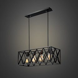 EFINEHOME Efine Vintage Industrial Lighting 4 Lights Edison Retro Rustic Metal Black Rectangle C ...