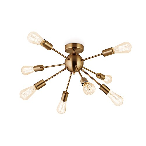 Flyer5 Antique Brushed Brass With 8 Light Sputnik Chandelier Semi Flush Mount Ceiling Light