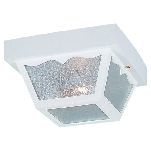Sea Gull Lighting 7569-15 2-Light Outdoor Close-to-Ceiling Fixture, Clear Textured Glass and White