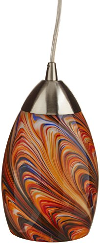 Elk 10089/1RV Mini Vortex 1-Light Pendant with Rainbow Glass Shade, 4 by 7-Inch, Satin Nickel Finish