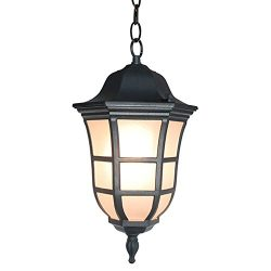 eTopLighting Le Noir Collection Matte Black Hanging Light, Ceiling Light Pendant with Frosted Gl ...