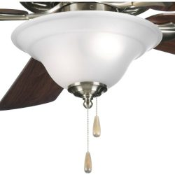 Progress Lighting P2628-09 2-Light Fan Kit with Etched Glass Bowl Quick-Connect Wiring, Brushed  ...