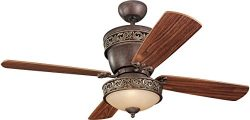"""Monte Carlo 4VG42/28TBD-L, Villager Flush Mount Ceiling Fan with Light, 42"""", Tuscan Bronze"""
