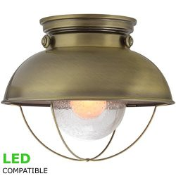 Kira Home Bayside 11″ Industrial Farmhouse Flush Mount Ceiling Light + Bubble Glass Shade, ...