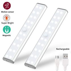 2-Pack Motion Sensor Wardrobe Closet lights, Rechargeable Wireless Under Cabinet Lighting, 20 LE ...