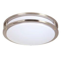 Maxxima 14″ Satin Nickel LED Ceiling Mount Light Fixture – Warm White, 1650 Lumens D ...