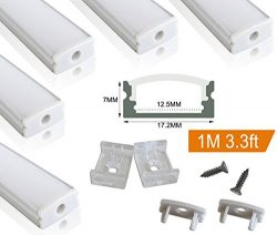 Muzata 5 PACK 1M/3.3ft Aluminum LED Channel for LED Strip Lights, Easy to Cut, U-Shape Aluminum  ...