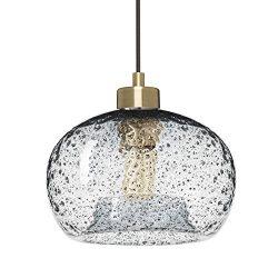 Casamotion Mini Pendant Light Handblown Rustic Seeded Glass Drop ceiling lights, Hanging Light w ...
