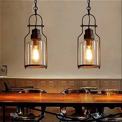 SUSUO Lighting 6″ Wide Vintage Industrial Glass Pendant Ceiling Hanging Light with Cylinde ...