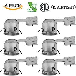 Four-Bros Lighting RM6-SH/LED/6PK Shallow Remodel 6″ LED Recessed Lighting-Line Voltage-IC ...