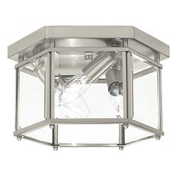 Sea Gull Lighting 7648-962 Bretton Three-Light Flush Mount Ceiling Light with Clear Beveled Glas ...