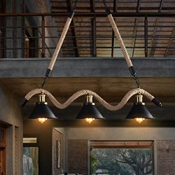 Lovedima Industrial Loft Cone Metal Shade Rustic Twined Hemp Rope 3-Light/5-Light Island Pendant ...