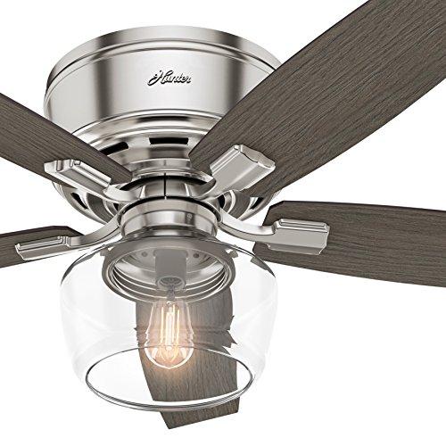 Hunter Fan 52 In Low Profile Ceiling Fan With Led Globe Light Kit Brushed Nickel Certified